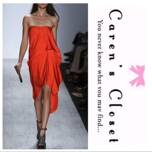 BCBGMaxAzria Runway Orange Silk Strapless Dress